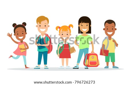 Happy children flat web infographic character concept vector icon set. Kids studding, going to school with backpack and books. Playing jumping and education. Parenting knowledge people collection.