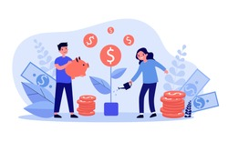 Happy children growing money tree. Coin, piggybank, cash flat vector illustration. Financial education and investment concept for banner, website design or landing web page