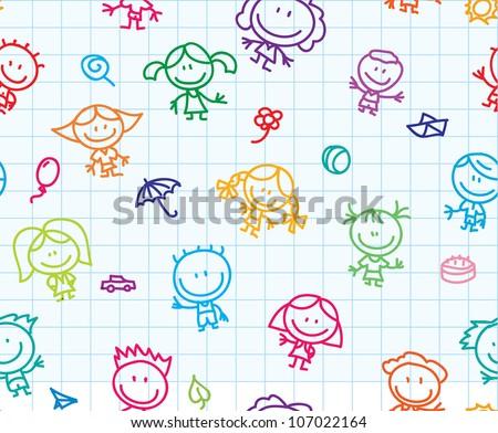 Happy children hand drawn doodles seamless background