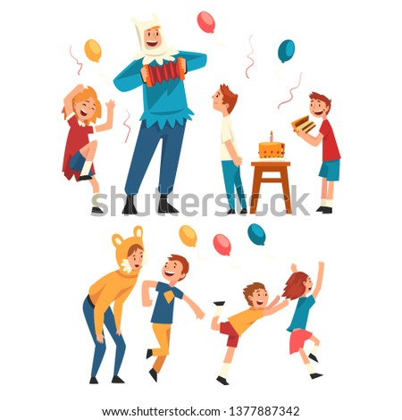 Happy Children Having Fun with Animator at Birthday Party, Entertainers in Festive Costumes Performing and Playing with Kids Vector Illustration