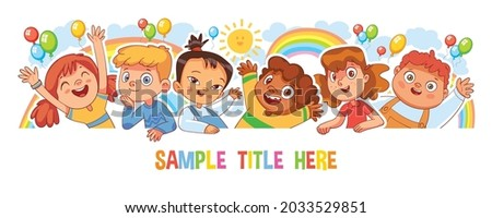 Happy children holding poster. Template for advertising brochure. Ready for your message. Style of kids drawings. Childrens panorama template. Funny cartoon character. Isolated on white background