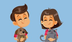 Happy Children Holding their Pets. Kids playing with cute friendly domestic animals