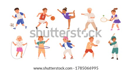 Happy children playing sport game, doing physical exercise. Training set. Football, baseball, tennis, karate. Active healthy childhood. Flat vector cartoon illustration isolated on white background