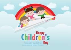 Happy children's day background poster with happy three kids flying on a paper airplane in the cloudy sky and rainbow greeting card isolated vector illustration