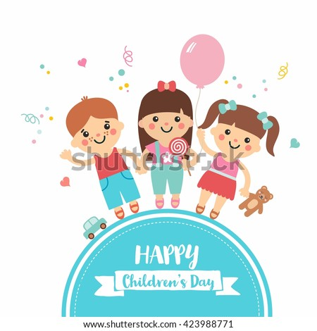 Happy children\'s day. Cartoon collection with sweet children on blue frame. Boys and girls character with toys. Teddy, balloon, candy, car. Perfect for invitations, banners and greeting cards.