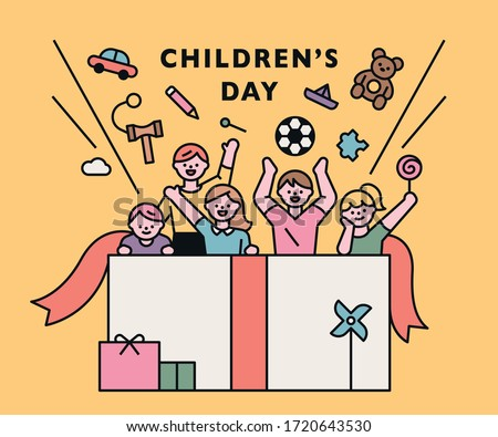 happy children's day. Children and toys pop out of the huge gift box. flat design style minimal vector illustration.
