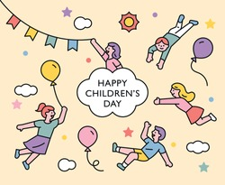happy children's day. Cute children are floating in the air. flat design style minimal vector illustration.