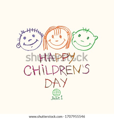 Happy Children's Day. Doodle holiday illustration to the International Children's Day. Children Art style drawing with colored pencils sketch. Vector logo with three funny baby faces.