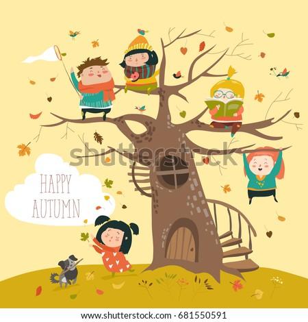 happy children sitting on tree