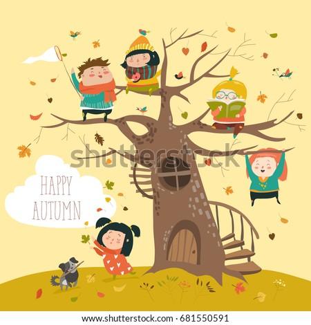 happy children sitting on tree