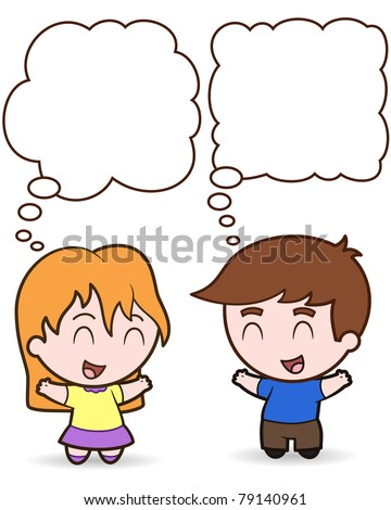 Happy Children Thought Balloons - vector illustration