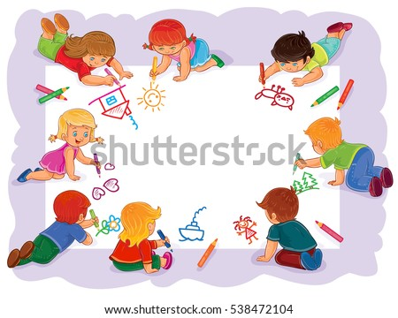 happy children together draw on