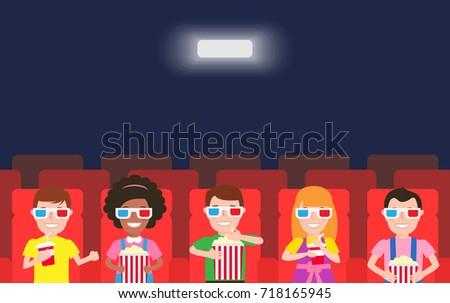 happy children watching  movie