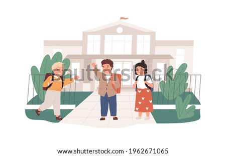 Happy children with backpacks meeting near school building. Girls and boys greeting each other. Elementary pupils with schoolbags. Colored flat vector illustration isolated on white background Сток-фото ©