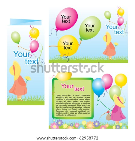 Happy children with colorful air balloons Tri Fold Brochure Template
