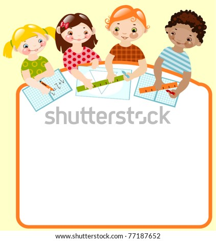 happy children with pencils and rulers. place for your text