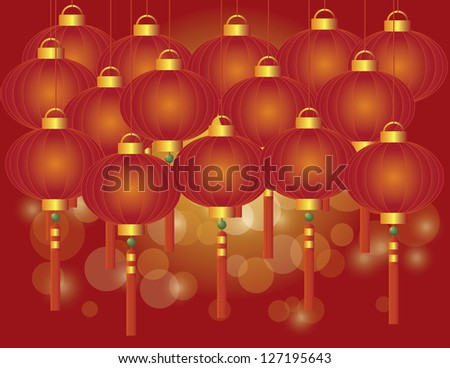 happy chinese lunar new year red lanterns on red bokeh background illustration vector