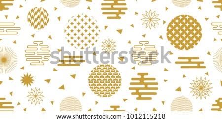 Happy Chinese New Year background. Seamless white and golden pattern with ornate circles, flowers and other geometric elements.