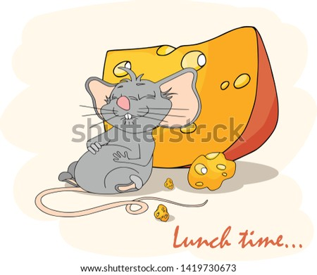 Happy Chinese new year calendar, greeting card, Cute mouse, rat in poses. Animal cartoon set. Fell fed glutton, had lunch