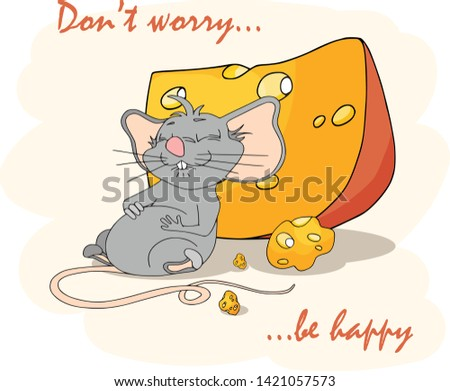 Happy Chinese new year calendar, greeting card, Cute mouse, rat in poses. Animal cartoon set. Fell fed glutton