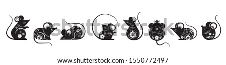 Happy Chinese new year design. 2020 Rat zodiac. Cute decorated mouses collection. Japanese, Korean, Vietnamese new year. Vector illustration and banner concept
