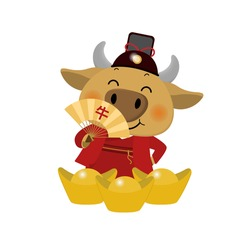 Happy Chinese new year greeting card. 2021 Ox zodiac. Cute cow in red costume and gold money. Animal holidays cartoon character.