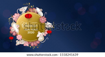 Happy Chinese New Year 2020. Six rats on golden round signboard. White mouses, red lanterns, red and pink flowers, blue background. For greeting card, invitations, poster, banner. Vector illustration.