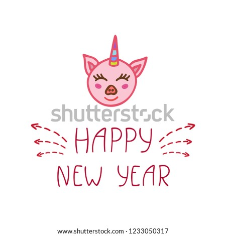 Happy Chinese New Year 2019 typography poster with cute pink piggy. Year of the Gold Pig. Zodiac sign for greetings card, calendar, invitation, posters, brochure, banners. Vector illustration.  #1233050317