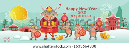 Happy chinese new year 2021 version. Zodiac of ox cartoon character traditional. New year 2021 cards.Calf holding gold and red bag greeting chinese style. Chinese translation: New year 2021 of the ox.
