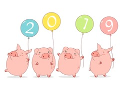 Happy chinese new year 2019 - year of the pig. Four cute pigs in kawaii style witn balloons. EPS8
