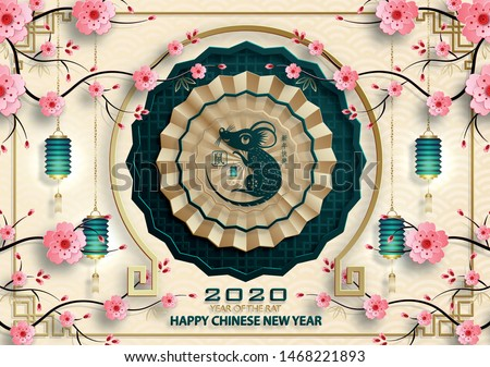 Happy chinese new year 2020, year of the Rat, gold paper cut rat character and asian elements with craft style on cream color background (Translation : happy chinese new year 2020, year of the rat)
