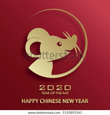 Happy chinese new year 2020 year of the Rat, red and gold paper cut rat character, and asian elements with craft style on background (Translation : happy chinese new year 2020, year of the rat)