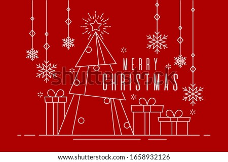 Happy Christmas banner of white color outline style illustration. Festive art decoration design in red background .
