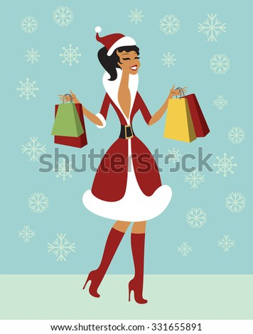 happy christmas girl holding