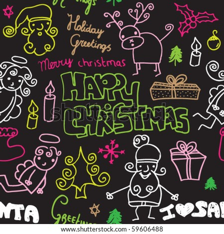 Happy christmas pattern seamless background pattern in vector