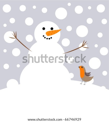 Happy Christmas snowman and robin bird