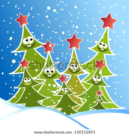 Happy Christmas trees applique vector background
