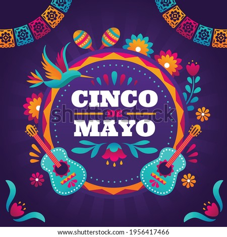 Happy Cinco de Mayo. English Translation: May 5, federal holiday in Mexico.Mexican traditional background.
