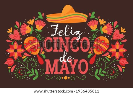 Happy Cinco de Mayo. English Translation: May 5, federal holiday in Mexico. Vector template with traditional Mexican symbols