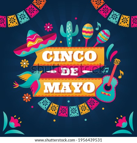 Happy Cinco de Mayo. English Translation: May 5, federal holiday in Mexico. web banner illustration for mexico independence celebration.