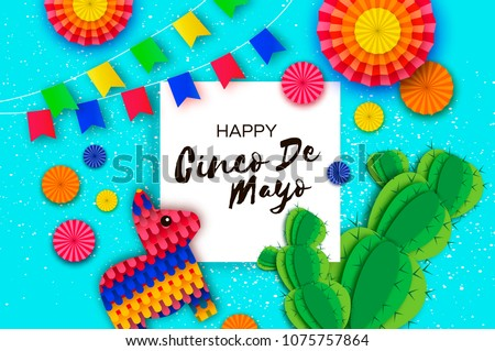 Cinco de mayo greeting card download free vector art stock happy cinco de mayo greeting card colorful paper fan flags funny pinata and m4hsunfo