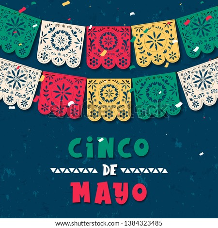 Happy Cinco de Mayo greeting card illustration of papel picado garland for mexico independence celebration. Traditional papercut flags with flower decoration.