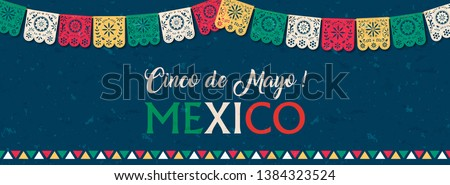 Happy Cinco de Mayo web banner illustration for mexico independence celebration. Typography quote with traditional papercut flag decoration.