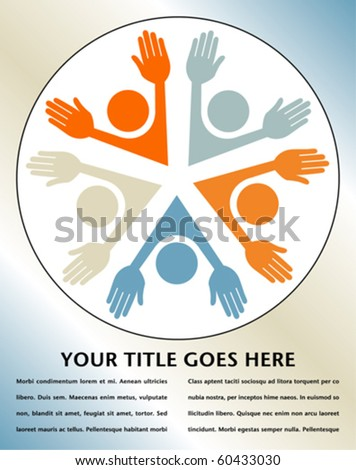 Happy circle of people with copy space.