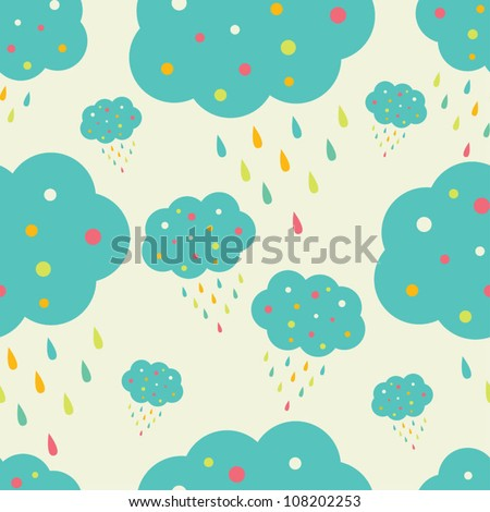 happy clouds  vector seamless