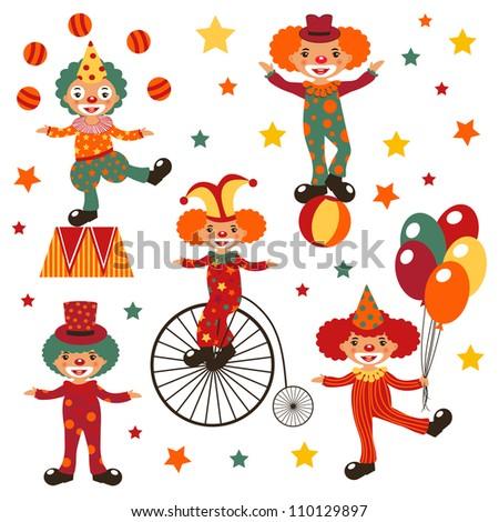 Happy clowns - stock vector