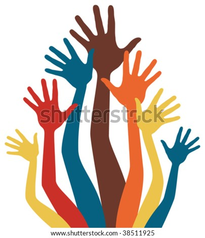 stock vector : Happy colorful hands vector.