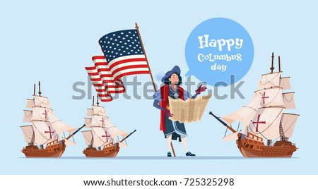 Happy Columbus Day Ship America Discovery Holiday Poster Greeting Card Flat Vector Illustration