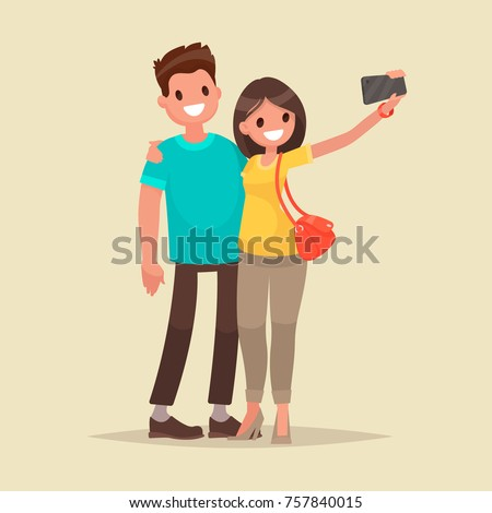 happy couple are take selfie