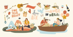 Happy Couple Characters Dating Outdoors on Picnic and Floating on Boat. Declaration of Love, Young Man Playing Violin, Singing Song to Girl, Love Romantic Relations. Linear People Vector Illustration